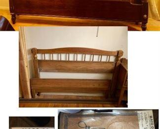 * Queen Size Bedframe Dark Wood                                                  * Full Size Bedframe Light Wood Matches Desk & Dresser, Night Stand                                                                          * MACO Vintage Place Mats Junior Acheivement