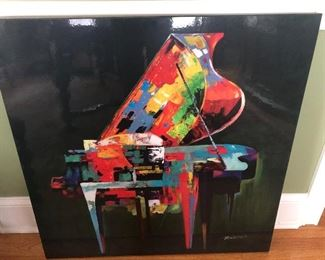 Artwork - Colorful Piano on Black Canvas    $45.00
