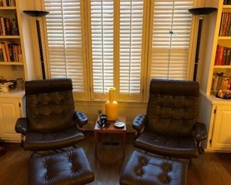Pair  of Ekornos lounge chairs with ottomans