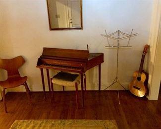 Mid-Century Modern chair, harpsichord, guitar, Aubusson rug