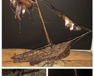 Unique handcrafted all copper ghost ship- signed