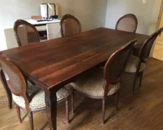"""French Cherry table Provençal 72"""" L & 6 leopard and caned chairs Louis XVI style"""