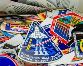 HUGE LOT OF NASA MISSION PATCHES, PINS, AND STICKERS