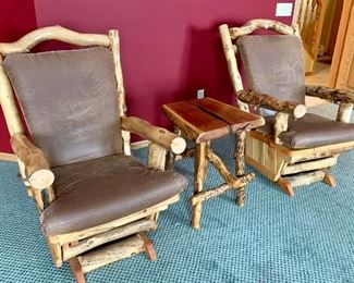 Rustic Log Glider Chairs & Table