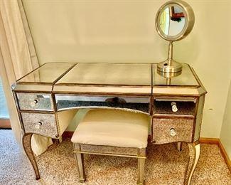Beautiful Claudia Antiqued Mirror Vanity with flip top center for makeup, jewelry & treasures