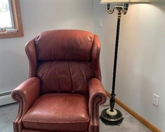 Leather Recliner & Antique Floor Lamp with Marble Base