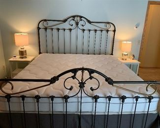King Size Antique Wrought Iron Bed.  Heavy Iron - Beautiful!