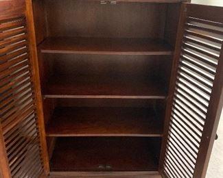 Wooden Louvered Door Cabinet
