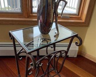 Iron & glass Magazine Table