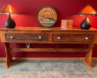 Long Wooden Wall Sofa Table