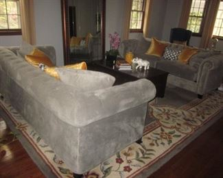 Stunning Like New Martha Stewart Gray Tufted Plush Sofa's