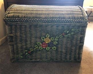 Green Wicker Basket/trunk