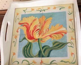Tile Floral Serving Tray