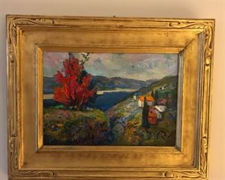 """On the River Banks, Bella Russe""  Oil on Panel                  By  Joseph Puchinsky  Provenance- Kamp  Galleries"