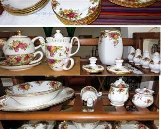 Royal Albert Country Roses China.  Service for 12, serving, tea sets and many, many extras