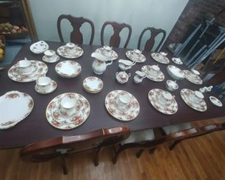 Approximate for service for 12 plus Royal Albert Old Country Rose china