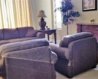 Sofa and 2 club chairs. Great neutral color.
