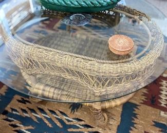 Rattan table with glass top