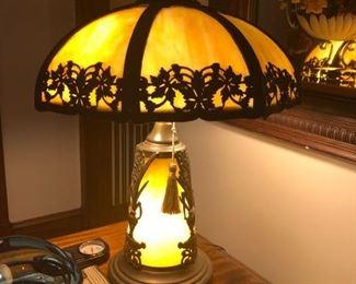 Art Nouveau Bent Glass Lamp