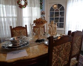 Table w/Chairs - Pewter Serving Dishes - Capodimonte