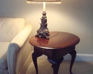 One of a pair Queen Anne end tables and pair of lamps.
