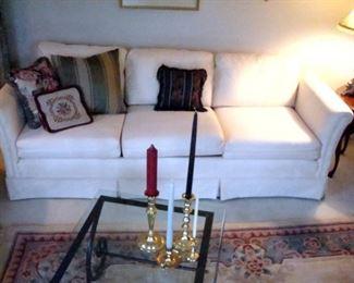 Custom upholstered sofa.