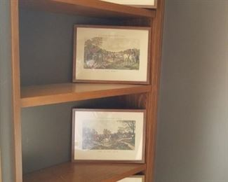small framed hunt scenes, set of 4
