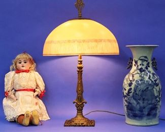 Reverse Painted lamp, Porcelain Doll, Chinese Vase
