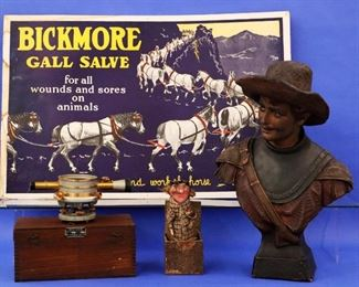 """Bickmore"" Salve Cardboard Stand-up sign, Victorian Jack-in-the-Box, Terracotta Bust, Contractor's Level"