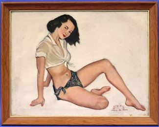 W.Y. Kim Pin-up style Oil on Canvas Portrait. Dated 11/25/1952