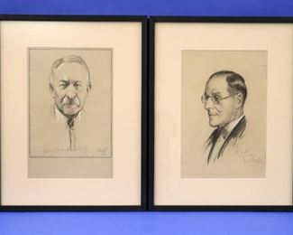S.J. Woolf (New York, 1880-1948) Portrait Studies. Dated 1934, Charcoal & White Chalk on Paper