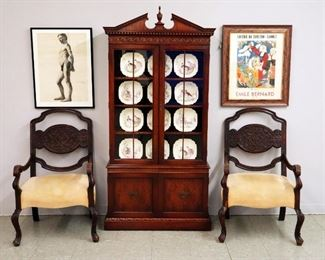 "Pr. Early French Armchairs, Mahogany china cabinet, Limoges Bird plates, L. Vanden Bosch, charcoal study, ""Galerie Des Champs-Elysees"" Print"