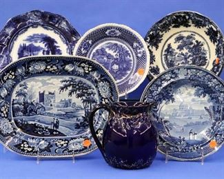 "Flo-Blue, Historical Blue ""Bywell Castle"" Platter, Italian Scenery Plate (both have some damage)"