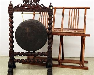Gong with Carved Oak stand, Folding Chinese Settee