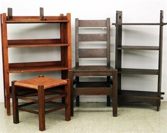 Arts & Crafts Bookshelves, Stickley Bros. Chair & Footstool