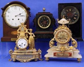 English bracket & Shelf clocks, Bronze & Onyx Mantel Clocks
