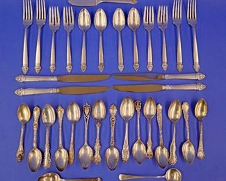 "17 pcs. Oneida ""King Cedric"" Sterling, 17 misc. Sterling Tea Spoons. 27.45 (plus handles) troy oz."