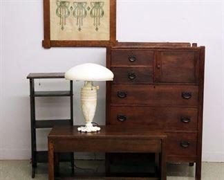 Arts & Crafts tall chest, Bookshelf & Bench, Acid Cut Glass back lamp