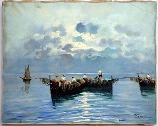 Achille Formis Befani (Italian,1832-1906), Seascape w/Fishing Boats. Oil on canvas.