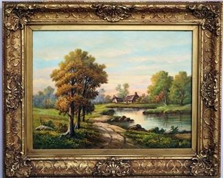 "Thomas M. Moore (American, 19th/20th Century), Landscape. Oil on Board. Framed, measures 21"" wide x 17.5"" high overall."