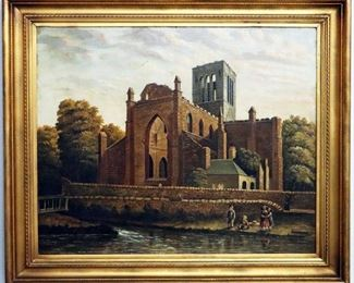 "W. A. Young Landscape with Ruins, dated 1856. Oil on Canvas. Framed , measures 34"" wide x 29"" high."