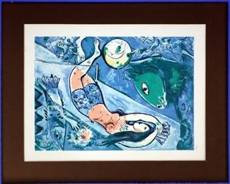 "Marc Chagall ""The Blue Circus"" #56/375, Lithograph on Paper"