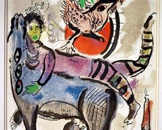 """Marc Chagall """"La Vache Bleue"""" Lithograph on Paper.  Marked """"Lithographie Orignale en 18 Coleurs Pour XX"""" on reverse."""
