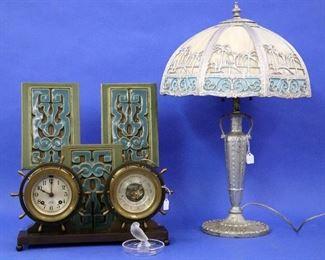 "Bent Panel ""Desert Oasis"" Lamp, Chelsea Clock & Barometer, Rookwood tiles"