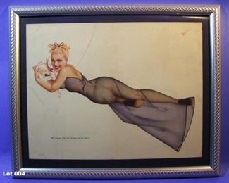 "4.	C/1945 pin-up litho, reclining girl on Telephone, signed George Petty, 16x20"", framed."
