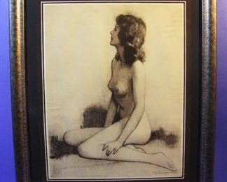 "7.	C/1930 pin-up sepia litho ""Charm of Youth"", signed lower right, 16x20"", framed."