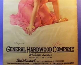 "11.	1958 pin-up calendar ""Mimi"", signed Gil Elvgren, from General Hardwood Co., Detroit, 22x46"", sleeved."