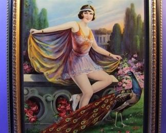 "13.	C/1930 pin-up litho, Lady with Peacock, marked Germany, 16x20"", framed."