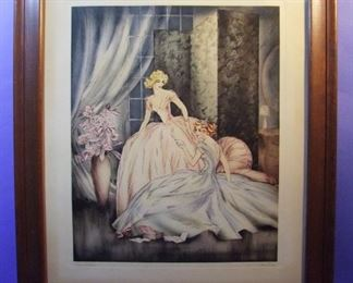 "16.	C/1930's Icart style litho, ""Love Letters, signed Martine, 21x26"", framed."