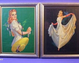 "17.	C/1950's 2 pin-up lithos ""It's your Dance"" & Lady with Hat, signed Jules Erbit, both 12x16"", framed."